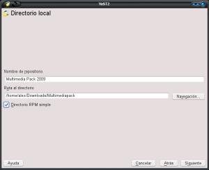 """Indicamos el directorio con los archivos descomprimidos y marcamos """"Directorio RPM simple"""""""